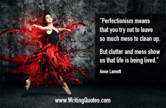 Woman dancing is splashed red dress - Anne Lamott quotes about clutter and mess - Inspirational Writing Quotes