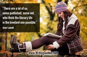 Woman sitting on wall in autumn, reading - Anne Lamott quotes about literary and loveliest - Inspirational Writing Quotes