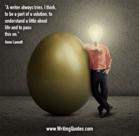 Man with light bulb head beside large egg - Anne Lamott quotes about part and solution - Inspirational Writing Quotes
