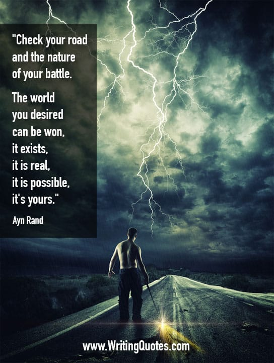 Man standing on road in lightning storm - Ayn Rand quotes about nature and battle - Inspirational Writing Quotes