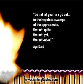 A row of matches catching on fire - Ayn Rand quotes about fire and out - Inspirational Writing Quotes