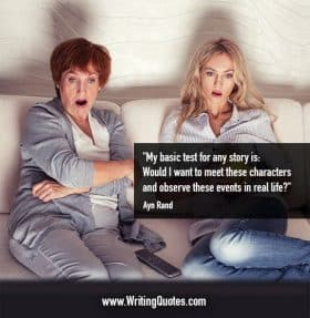 Two woman on a couch, shocked at TV - Ayn Rand quotes about basic and test - Famous Quotes About Writing