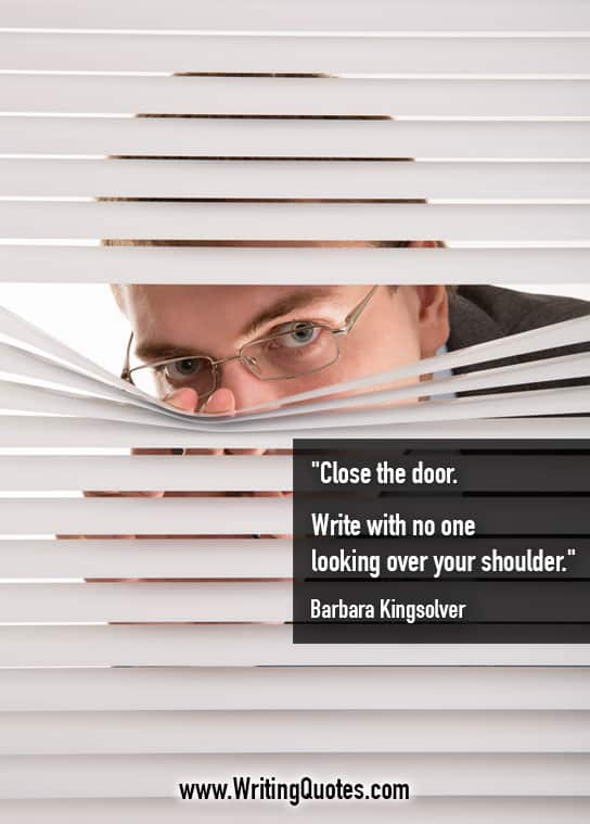 Man in glasses peeking through blinds - Barbara Kingsolver quotes about looking and shoulder - Quotes About Writing