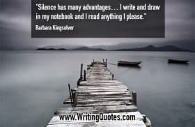 Old dock with boats - Barbara Kingsolver quotes about silence and advantages - Inspirational Writing Quotes