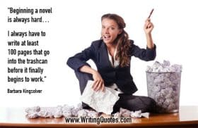 Woman with crumpled paper sitting beside trashcan - Barbara Kingsolver quotes about trashcan and finally - Writing Fiction Quotes