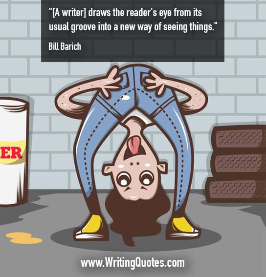 Cartoon person upside down, looking through legs - Bill Barich quotes about usual and groove - Inspirational Writing Quotes
