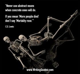 Lounging skeletons, at an angle, on reflective floor - C.S. Lewis quotes about abstract and nouns - Famous Quotes About Writing