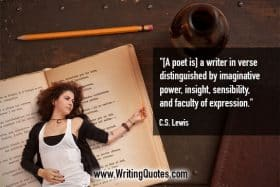 Young woman laying on an open book - C.S. Lewis quotes about faculty and expression - Writing Poetry Quotes