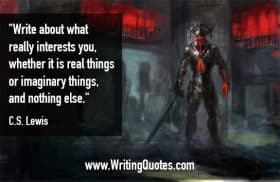 Persons in full black and red armor with sword - C.S. Lewis quotes about real and imaginary - Inspirational Writing Quotes