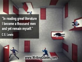 Men walking through red doors at all angles - C.S. Lewis quotes about thousand and men - Writing Quotes About Reading Books