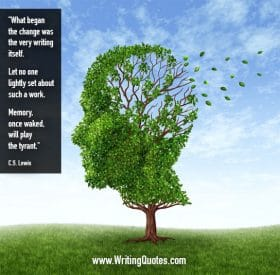Tree with leaves shaped like human head with leaves blowing away - C.S. Lewis quotes about play and tyrant - Inspirational Writing Quotes