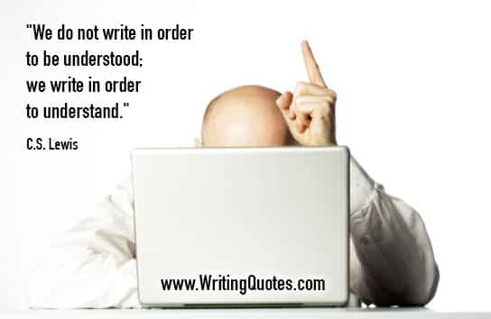 Man behind laptop holding up one finger - C.S. Lewis quotes about order and understood - Inspirational Writing Quotes