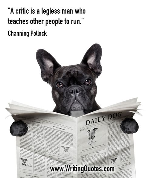 Black dog reading newspaper - Channing Pollock quotes about legless and man - Funny Writing Quotes