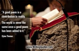 Person standing at stone podium with pages and microphone - Dylan Thomas quotes about contribution and reality - Writing Poetry Quotes