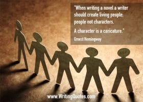 Paper people standing and holding hands - Ernest Hemingway quotes about character and caricature - Hemingway Quotes On Writing