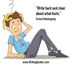 Man on ground with banana peel on head - Ernest Hemingway about clear and hurts - Hemingway Quotes On Writing