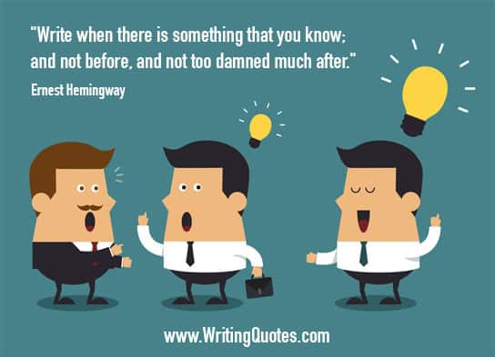 Three cartoon men, two with light bulbs above their heads - Ernest Hemingway quotes about too and damned - Hemingway Quotes On Writing