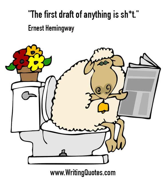 Sheep on toilet with paper - Ernest Hemingway quotes about draft and shit - Hemingway Quotes On Writing