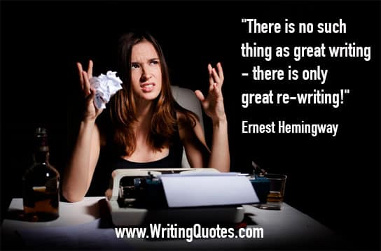 Girl at typewriter with bottle and wadded up paper - Ernest Hemingway quotes about great and rewriting - Hemingway Quotes On Writing