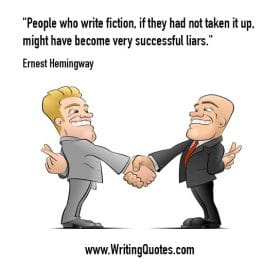 Men shaking hands with fingers crossed - Ernest Hemingway quotes about successful and liars - Hemingway Quotes On Writing