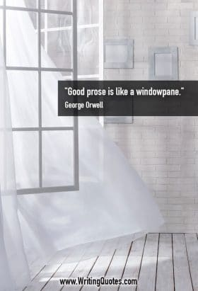 Open window with billowing curtain - George Orwell quotes about prose and windowpane - George Orwell Quotes On Writing