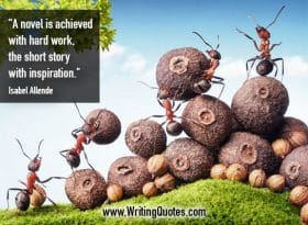 Ants stacking dried fruit and nuts - Isabel Allende quotes about achieved and hard - Writing Fiction Quotes