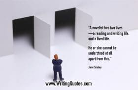 Man looking at two abstract towers - Jane Smiley quotes about lived and life - Writing Fiction Quotes