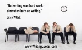 Man in waiting room in different positions - Jincy Willett quotes about hard and work - Funny Writing Quotes