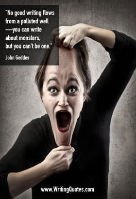 Woman stretching her face out of proportion - John Geddes quotes about polluted and well - Funny Writing Quotes