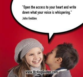 Little boy whispering into smiling girl's ear - John Geddes quotes about voice and whispering - Inspirational Writing Quotes
