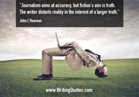 Man bent backwards with hands on laptop - John L'Heureux quotes about journalism and aims - Writing Fiction Quotes