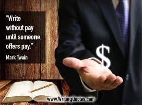 Man beside book with cash symbol in hand - Mark Twain quotes about offers and pay - Mark Twain Quotes On Writing