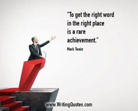 Man at podium holding up hand - Mark Twain quotes about rare and achievement - Mark Twain Quotes On Writing