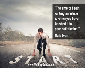 Man at start on pavement - Mark Twain quotes about begin and article - Mark Twain Quotes On Writing