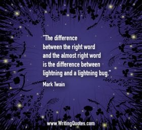 Stars and clover with purple background - Mark Twain quotes about lightning and bug - Mark Twain Quotes On Writing