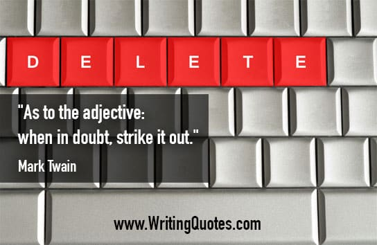 "Keyboard with read keys reading ""delete"" - Mark Twain quotes about strike and out - Mark Twain Quotes On Writing"