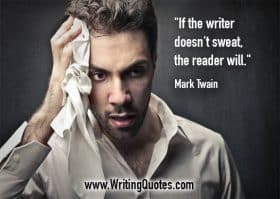 Man holding cloth to his temple - Mark Twain quotes about sweat and will - Mark Twain Quotes On Writing