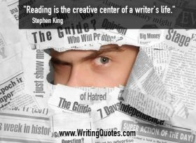 Man peeking through scraps of newspaper - Stephen King quotes about creative and center - Stephen King Quotes On Writing