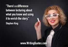 Woman in white glasses with chalk - Stephen King quotes about lecturing and enrich - Stephen King Quotes On Writing