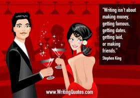 Couple at bar - Stephen King quotes about getting and famous - Stephen King Quotes On Writing