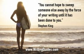 Woman in bikini, holding surf board - Stephen King quotes about sweep and force - Stephen King Quotes On Writing