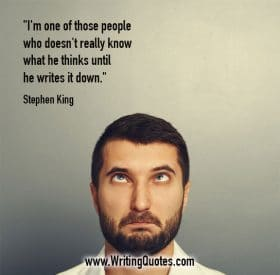 Cross-eyed man looking up - Stephen King quotes about know and thinks - Stephen King Quotes On Writing