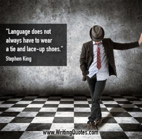 Man in tie and hat on checker tiled floor - Stephen King quotes about language and tie - Stephen King Quotes On Writing