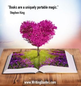 Heart flower bush growing out of a book - Stephen King quotes about portable and magic - Stephen King Quotes On Writing