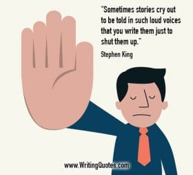Man in tie holding hand out in stop gesture - Stephen King quotes about loud and voices - Stephen King Quotes On Writing