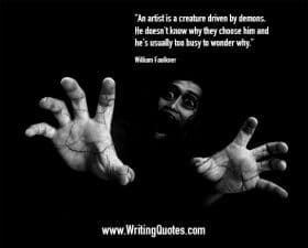 Screaming face with hands reaching out - William Faulkner quotes about driven and demons - Faulkner Quotes On Writing