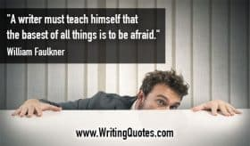 Man hiding behind counter - William Faulkner quotes about teach and afraid - Faulkner Quotes On Writing