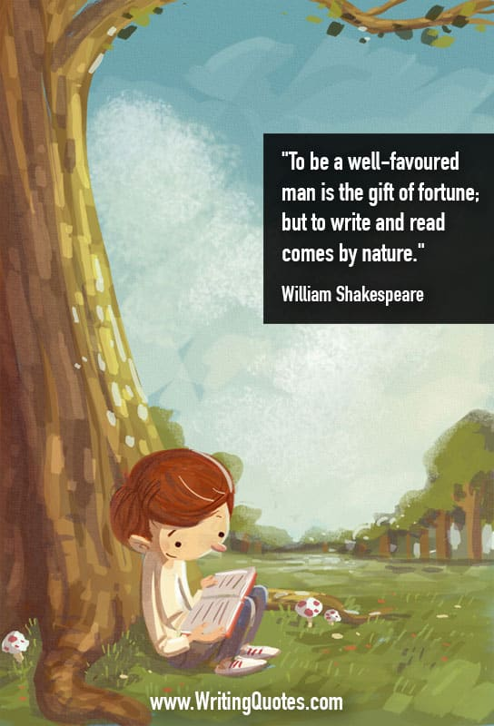 Boy sitting at base of tree, reading a book - William Shakespeare quotes about gift and fortune - Shakespeare Quotes On Writing