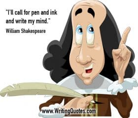 Man holding quill - William Shakespeare quotes about ink and mind - Shakespeare Quotes On Writing