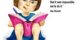 Girl writing in book with tongue out - Alan Bennett quotes about felt and reading - Writing Quotes About Reading Books